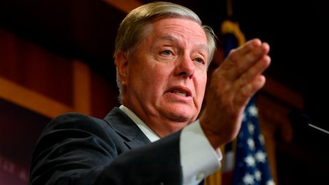 US Senator Lindsey Graham (R-SC) speaks during a press conference on the impeachment of US President Donald Trump at the US Capitol in Washington, DC, on October 24, 2019. (Photo by Andrew CABALLERO-REYNOLDS / AFP) (Photo by ANDREW CABALLERO-REYNOLDS/AFP via Getty Images)