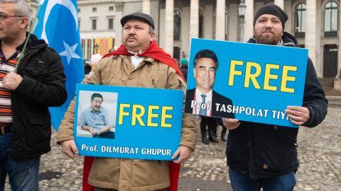 Protesters demanding freedom for Prof. Dilmurat Ghpur and Prof. Tashpolat Tiyh in Munich, Germany, on February 2.