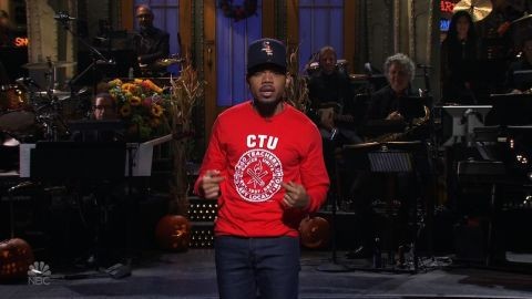 """Chance the Rapper showed support for the Chicago teachers on strike by wearing a Chicago Teacher's Union Sweatshirt when he hosted """"Saturday Night Live."""""""