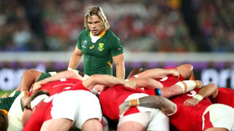 South Africa scrum-half Faf de Klerk on the prowl during the semifinal against Wales.