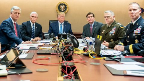 """This was tweeted from Dan Scavino with the caption: """"President Trump is joined by VP Mike Pence, National Security Advisor Robert O'Brien, left; Secretary of Defense Mark Esper and Chairman of the Joint Chiefs of Staff U.S. Army General Mark A. Milley, and Brig. Gen. Marcus Evans, Deputy Director for Special Operations on the Joint Staff, at right, Saturday, Oct. 26, 2019, in the Situation Room of the White House monitoring developments as U.S. Special Operations forces close in on notorious ISIS leader Abu Bakr al-Baghdadi's compound in Syria with a mission to kill or capture the terrorist."""""""