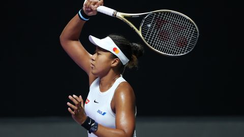 SHENZHEN, CHINA - OCTOBER 27: Naomi Osaka of Japan plays a forehand against Petra Kvitova of the Czech Republic during their Women's Singles match on Day One of the 2019 WTA Finals at Shenzhen Bay Sports Center on October 27, 2019 in Shenzhen, China. (Photo by Matthew Stockman/Getty Images)