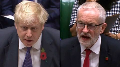 LEFT: Britain's Prime Minister Boris Johnson speaks to lawmakers during the election debate in the House of Commons, London, Monday Oct. 28, 2019.  RIGHT: Britain's main opposition Labour Party leader Jeremy Corbyn speaks to lawmakers during an election debate in the House of Commons, London, Monday Oct. 28, 2019.