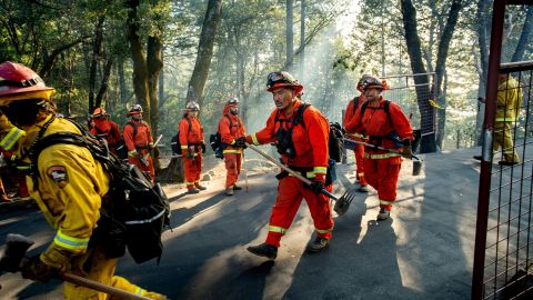 Inmate firefighters battle the Kincade Fire near Healdsburg, California, on Tuesday, October 29.
