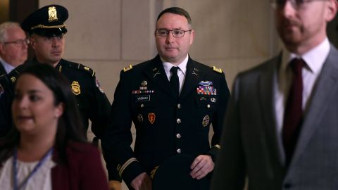 Army Lieutenant Colonel Alexander Vindman, Director for European Affairs at the National Security Council, arrives at a closed session before the House Intelligence, Foreign Affairs and Oversight committees October 29, 2019 at the U.S. Capitol in Washington, DC.