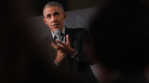 Former U.S. President Barack Obama speaks to young leaders from across Europe in a Town Hall-styled session on April 06, 2019 in Berlin, Germany.