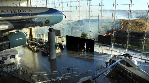 Former US President Ronald Reagan's Air Force One sits on display at the Reagan Presidential Library as the Easy Fire burns in the hills on October 30, 2019 in Simi Valley, California.