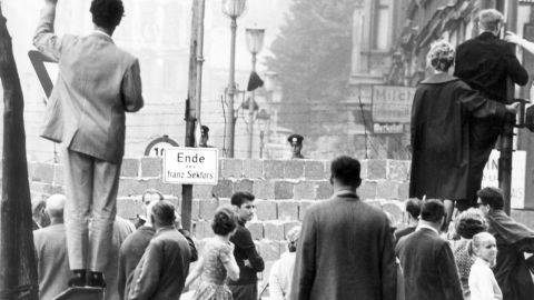 West Berliners wave at relatives in the East, September 1961.
