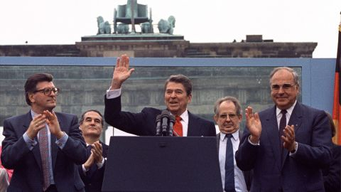 """United States President Ronald Reagan delivers his famous speech in front of the Brandenburg Gate in 1987, urging his Soviet counterpart: """"Mr. Gorbachev, tear down this wall!'"""