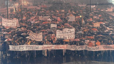 Thousands of anti-Communist protesters hit the streets of Leipzig, East Germany, in November 1989. The massive protests were part of the peaceful revolution that helped bring down the Wall.