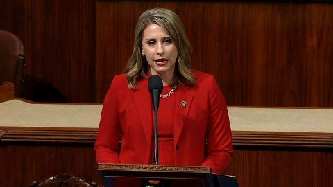 Rep. Katie Hill speaks on the House floor on Thursday.