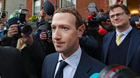 Facebook CEO Mark Zuckerberg leaving The Merrion Hotel in Dublin with as its head of global policy and communications Nick Clegg after a meeting with politicians to discuss regulation of social media and harmful content. (Photo by Niall Carson/PA Images via Getty Images)