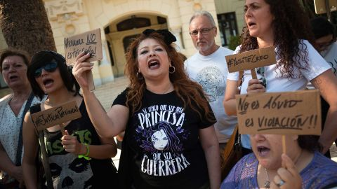 Mandatory Credit: Photo by Jesus Merida/SOPA Images/Shutterstock (10330630o)A woman shouts slogans during the demonstration in support of the young woman who claims to have been assualted by seven men'The Wolfpack from Manresa' case demonstration, Malalga, Spain - 08 Jul 2019In October of 2016, an inebriated 14 year old girl claims to have been assaulted in turns by seven men in a disused factory. In a new case of group rape known as 'La Manada de Manresa' ('The wolf pack from Manresa'), the trial continued with the testimony of the victim, who at present has 17 years old.