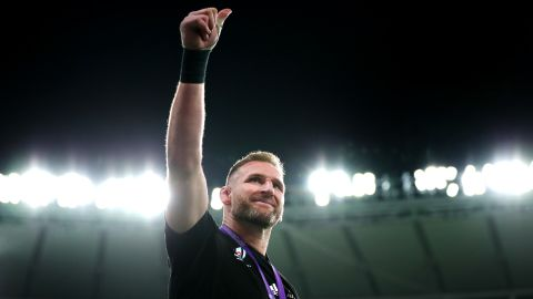 Kieran Read of New Zealand acknowledges the fans following his final appearance for the All Blacks.