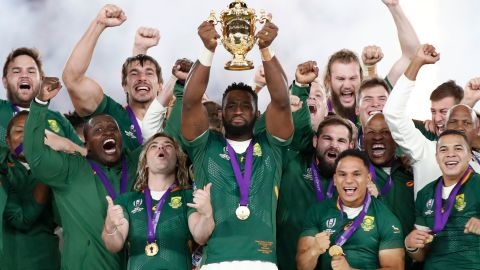South Africa's Siya Kolisi celebrates with the Webb Ellis trophy after the Springboks' Rugby World Cup final victory over England.
