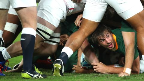 Eben Etzebeth of South Africa looks on from the bottom of the scrum. The Springboks ran away with the game in the second half after scoring two tries.