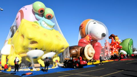 The balloons are seen being inflated as Macy's unveils new balloons for the 93rd annual Macy's Thanksgiving Day Parade.