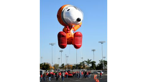 Astronaut Snoopy by Peanut Worldwide is seen as Macy's unveils new balloons for the 93rd annual Macy's Thanksgiving Day Parade on November 2, 2019.