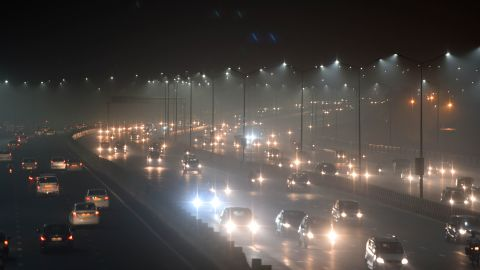 Thick smog has resulted in several days of low visibility across New Delhi.