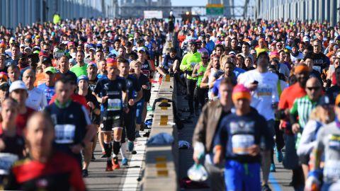 Runners cross the Verrazzano-Narrows Bridge during Sunday's NYC Marathon.