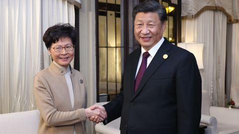 Chinese President Xi Jinping meets with Hong Kong's Chief Executive Carrie Lam in Shanghai on November 4.