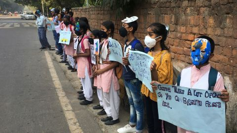 Schoolchildren protest outside the Indian Environment Ministry against alarming levels of pollution in New Delhi, India, on November 5, 2019.