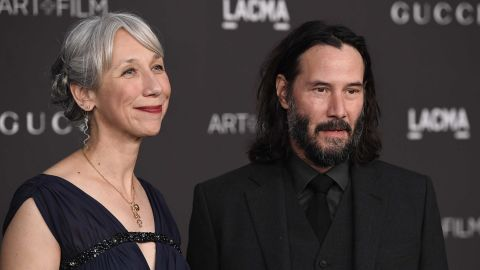 Alexandra Grant and Keanu Reeves attend the 2019 LACMA 2019 Art + Film Gala Presented By Gucci on November 02, 2019 in Los Angeles, California.