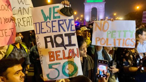Protesters rally at the India Gate in New Delhi as the city suffers from record levels of air pollution.