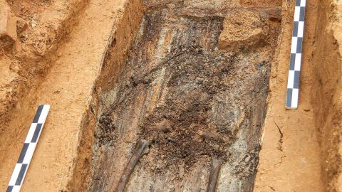 TOPSHOT - A picture taken on July 7, 2019 shows the supposed remains of French General Charles Etienne Gudin de la Sablonniere in Smolensk. - A mystery of more than 200 years may be about to be solved: a team of Franco-Russian archaeologists believe they have found the remains of a French general who died in 1812 during Napoleon's Russian campaign. (Photo by Denis Maximov / AFP)        (Photo credit should read DENIS MAXIMOV/AFP via Getty Images)