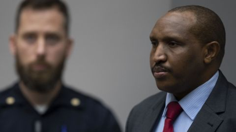 Bosco Ntaganda looks on in the courtroom prior to the verdict.