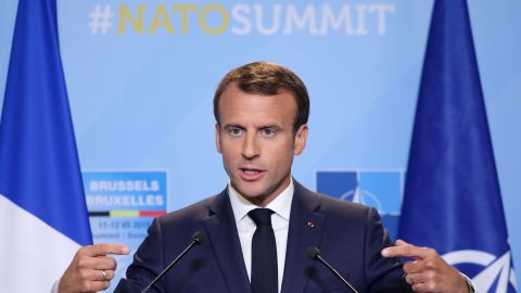 French President Emmanuel Macron addresses a press conference on the second day of the North Atlantic Treaty Organization (NATO) summit in Brussels on July 12, 2018. (Photo by LUDOVIC MARIN / POOL / AFP)        (Photo credit should read LUDOVIC MARIN/AFP via Getty Images)