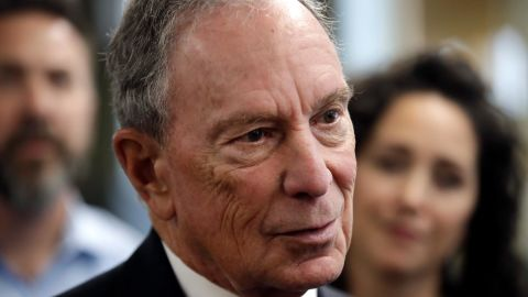 In this January 2019 file photo, Michael Bloomberg speaks to workers during a tour of the WH Bagshaw Company in Nashua, New Hampshire.
