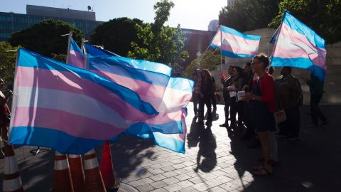 Members of the transgender and gender non-binary community and their allies gather to celebrate International Transgender Day of Visibility, on March 31, 2017 in Los Angeles, California.