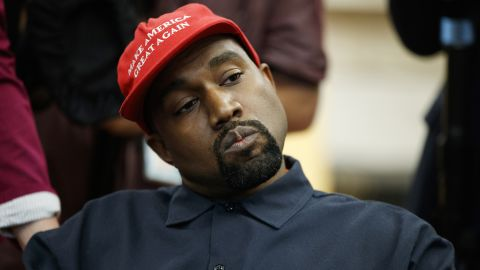 Kanye West attends a meeting in the Oval Office of the White House with President Donald Trump in Washington, D.C., on October 11, 2018.