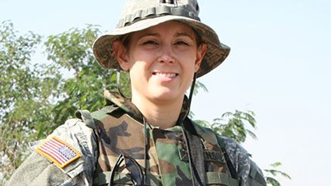 Angela Downs served in the Army during the Iraq War.