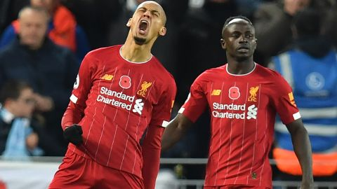 Liverpool's Brazilian midfielder Fabinho  celebrates after scoring the opening goal in the 3-1 win over Manchester City at Anfield.