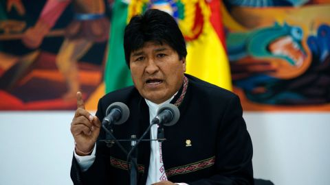 LA PAZ, BOLIVIA - OCTOBER 22: President of Bolivia and Presidential candidate for MAS Evo Morales speaks during a press conference on October 23, 2019 in La Paz, Bolivia. President Evo Morales denied fraud and accused right wing opposition of attempting a coup and therefore declared a state of emergency. (Photo by Javier Mamani/Getty Images)