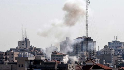 Smoke is seen Gaza City following an Israeli strike on November 12.
