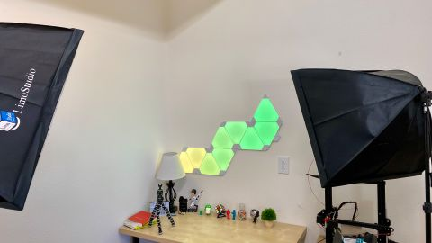 You can arrange the Nanoleaf panels in almost any way.