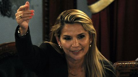 Bolivian senator Jeanine Anez, gestures after proclaiming herself the country's new interim president during a session of Congress, despite it failed to reach a quorum, on November 12, 2019 in La Paz. - Lawmakers had been summoned to formalize Sunday's resignation of Evo Morales and confirm 52-year-old Anez as interim president. Anez, second vice-president of the Senate, is constitutionally next-in-line for the presidency after the vice-president and leaders of both houses of Congress resigned along with Morales. (Photo by JORGE BERNAL / AFP) (Photo by JORGE BERNAL/AFP via Getty Images)