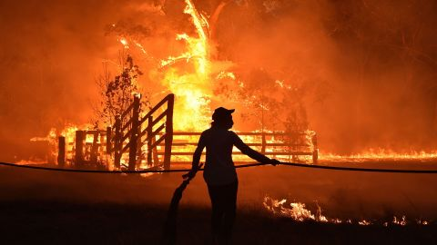 Residents defend a property from a bushfire at Hillsville near Taree, 350km north of Sydney on November 12.