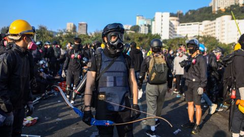 A protester armed with a bow is seen at the Chinese University of Hong Kong campus in Sha Tin on November 13, 2019.