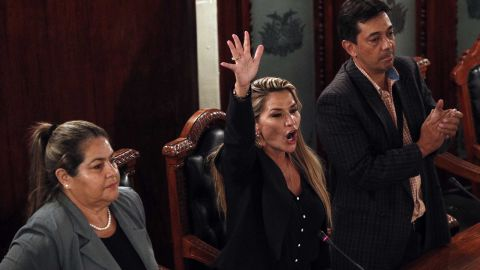 Jeanine Anez, center, declares herself Bolivia's interim president during a Congress session.