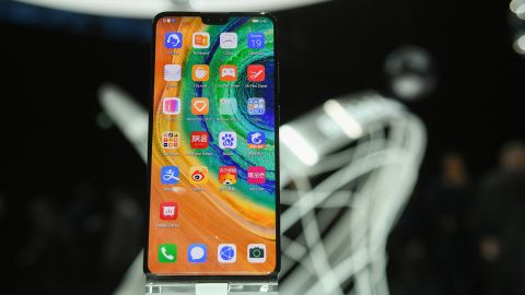 """Huawei's """"Mate 30 Pro"""", the latest smartphone by the Chinese tech giant Huawei is displayed after a presentation to reveal Huawei's latest smartphones """"Mate 30"""" and """"Mate 30 Pro"""" in Munich, southern Germany, on September 19, 2019."""