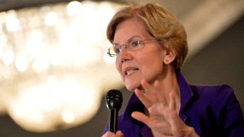 Democratic presidential hopeful Massachusetts' Senator Elizabeth Warren speaks to members of SEA/SEIU Local 1984, state employees, at the Holiday Inn in Concord New Hampshire, after signing papers to officially enter the New Hampshire Primary race on November 13, 2019. - Two hundred union members attend the exclusive town hall to hear Warren speak and ask her questions. (Photo by JOSEPH PREZIOSO/AFP via Getty Images)
