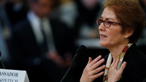 Former Ambassador to Ukraine Marie Yovanovitch testifies before the House Intelligence Committee on Capitol Hill in Washington, Friday, Nov. 15, 2019, during the second public impeachment hearing of President Donald Trump's efforts to tie U.S. aid for Ukraine to investigations of his political opponents.