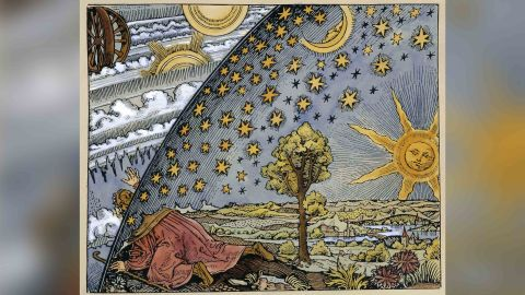 A medieval engraving of a scientist leaving the world, representing the change in conceptions of the world in the 16th century.