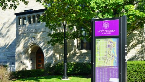 EVANSTON, IL -14 SEP 2018- View of the campus of Northwestern University, a leading research and teaching university located by Lake Michigan in Evanston, north of the city of Chicago, Illinois.