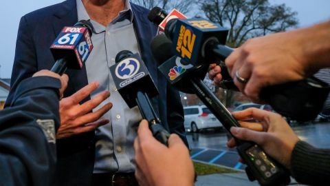 NEWTOWN, CONNECTICUT, UNITED STATES - 2019/10/30: Presidential candidate Beto O'Rourke talks to media about gun violence in Newtown. Taking a short break from campaigning, Beto O'Rourke spent the evening discussing gun violence, and gun control with gun control advocates, and students in Newtown, the town where the 2012 Sandy Hook Elementary school shooting that killed 28 people occurred. (Photo by Preston Ehrler/SOPA Images/LightRocket via Getty Images)