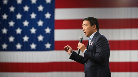 DES MOINES, IA - AUGUST 10: Democratic presidential candidate Andrew Yang speaks during a forum on gun safety at the Iowa Events Center on August 10, 2019 in Des Moines, Iowa. The event was hosted by Everytown for Gun Safety. (Photo by Stephen Maturen/Getty Images)